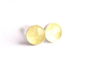 4mm Yellow Heliodor Stone Stud Earrings. Heliodor Earrings. Yellow Earrings. Yellow Stud Earrings. Yellow Stone Earrings.
