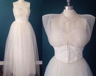 Ivory wedding dress-Tulle wedding dress-Strapless wedding-Sweetheart bridal-1950s wedding dress- Ballerina wedding- Vintage bridal- XS