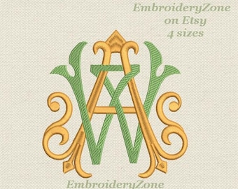 Double antique monograms from old books A & W 1 Embroidery design.2 monograms A and W intertwined. AW. 4 sizes.Hoop 4x4 5x7 6x10 No alphabet