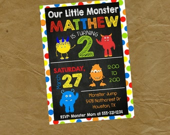 Monster Birthday Party Invitation - Digital or Printed