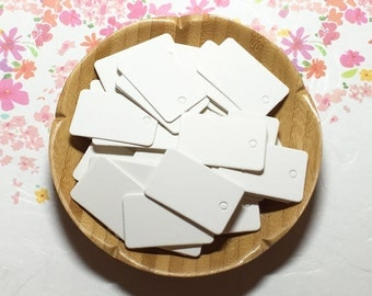 2x3.3 cm White Rectangle Blank Tags (50 pcs) Favor Tags Swing Tags Card Blanks C0102