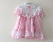 Vintage Fluffy Adorable Pink Easter Dress - Size 2 years (up to)