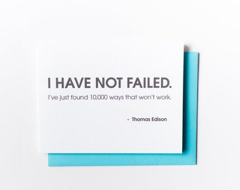 Sarcastic Encouragement. Congratulations.  I Have Not Failed Letterpress Card