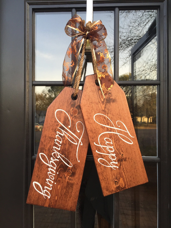 Large Wood Door Tags Door Hanger Happy Thanksgiving Hand