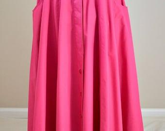 BOGNER Vintage Bright Pink, Long Skirt, Buttoned Skirt, Cotton, Size 10