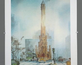 """Vintage Tom Lynch Chicago Water Tower Michigan Avenue Magnificent Mile Print 33"""" x 22"""""""