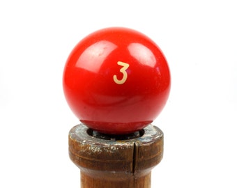 """Number 3 Old Phenolic Resin Billiard Ball Size 2.25"""" Pocket Balls Three III Red Color Game Pool Solid Solids Set"""