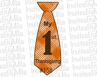 My 1st Thanksgiving Tie Iron-on #158, Plaid, Brown, Vintage, Printable, Label,iron-on - Digital/ You Print