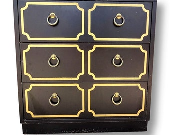 VVH Vintage Dorothy Draper Style Chest Espana Style Chest 3 Drawer Bachelors Chest Hollywood Regency Chest Black And Gilt Chest W/Ring Pulls