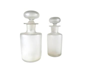 2 Frosted Opal Vials, Bathroom Vanity Boudoir Flask, Apothecary Perfume Bottle with Stopper, Shabby French Chic