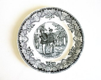 Black & White Plate #10, Luneville France, Gallery Wall Historical Plate, Collectible Hanging Ironstone, Old Army Display Plate Transferware
