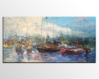 Large Painting, Sailing Boat Painting, Canvas Art, LARGE Art, Original Art, Contemporary Art, Abstract Art, Large Painting, Canvas Painting