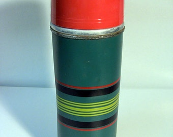 Vintage Thermos Lunchbox Thermos Metal Thermos Insulated Bottle Green Striped Thermos Cape Cod Vacuum Bottle X660 Pint Rexall Drug Thermos