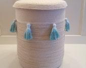 Tall Beachy Tassel Basket with Lid