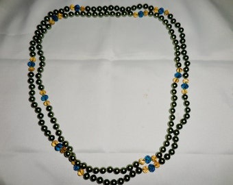 Extra Long Green Glass Pearls with Cut Glass Beads