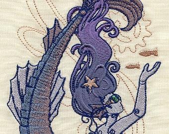 MECHANICA AQUATICA MERMAID Futuristic Sea Creature Ocean Steampunk Siren Machine Embroidered Quilt Square, Art Panel