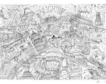 Brighton Illustrated Map drawing, East Sussex , Brighton art