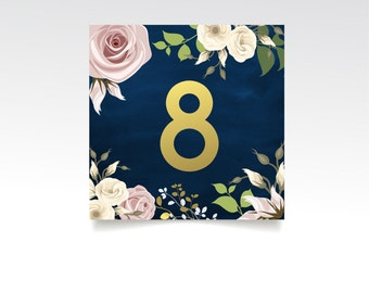 The DANIELLE . Table Numbers Square Set . Gold & Navy Calkboard Pink Blush Cream Rose Garland Wedding . 5.5 x 5.5 Double Sided Printed Card