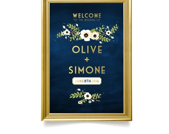 The ALYSSA . Welcome Wedding Ceremony Sign . Printed on Heavy Paper, Foam Board or Canvas . Gold & Navy Chalkboard . Anemone Magnolia flower
