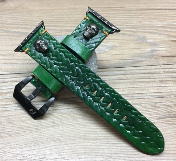 Apple Watch Bands   Apple Watch Strap   Leather Craving Art Watch Band   Craving Art Watch band w Bronze Skull For Apple Watch 38mm & 42mm