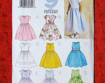 Butterick Easy Sewing Pattern 3350 Formal Dress, Dirndl Skirt Gown, Toddler Size 2 3 4 5, Wedding Flower Girl Special Occasion Summer, UNCUT