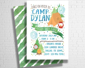 Camping Birthday Invitation | Happy Camper Birthday Invitation | Camp Birthday Invite |  Outdoors Birthday Invitation | DIGITAL FILE ONLY