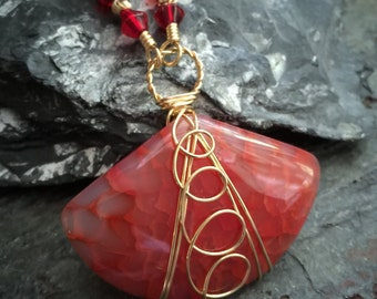 Red Agate Brass Wire Wrapped Necklace - Red Crystal Necklace - OOAK Red Necklace - Natural Brass Wire Wrapped Red Necklace - Boho Necklace