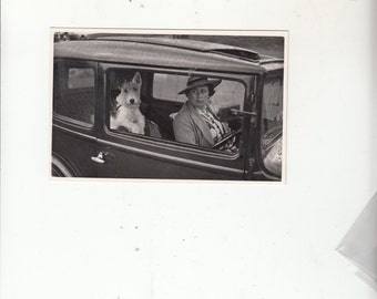 Authentic Antique Photographic Postcard-Im Ready To Drive-Energetic Terrier Dog & Owner C1920-30
