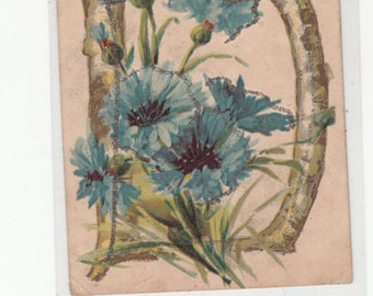 "Antique Alphabet Letter ""D"" Blue Flowers W Glitter Undivided Postcard"