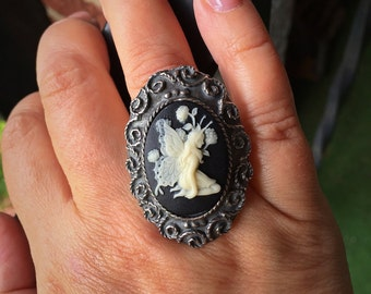 Fairy Ring, Cameo Ring, Silver Adjustable Ring, Black Ring, Statement Ring, Fairy Cameo Ring, Gothic Ring, Halloween Jewelry