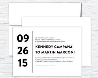 Kennedy, Pink and Black Clean, Simple, Chic, Elegant, Customizable Wedding Invitation Set