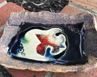 Hand Crafted Fleur De Lis Stoneware Tray, Relish Dish, Snack Tray, Red and Black