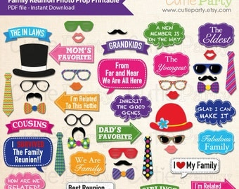 Family Reunion Photo Booth Props, Family Reunion Party Printable, Family Gathering Photo Props