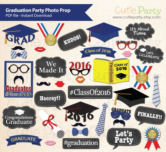Class of 2016 Graduation Party Photo Booth Prop, Graduation Party Photo Booth Prop, Class of 2016 Party Printable