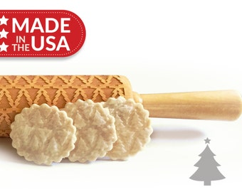 Christmas Tree Solid Maple  Embossing Rolling Pin, Laser Engraved Rolling Pin. Patterned Rolling Pin