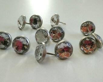 25 Decorative nails silver crystal upholstery nails Tacks Decotacks