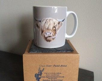 Scottish Highland Cow Ceramic Art Mug