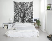 Tree Branch Tapestry, Bohemian Tapestry, Black And White, Wall Decoration, Bedroom Decor, Wall Art Tapestries