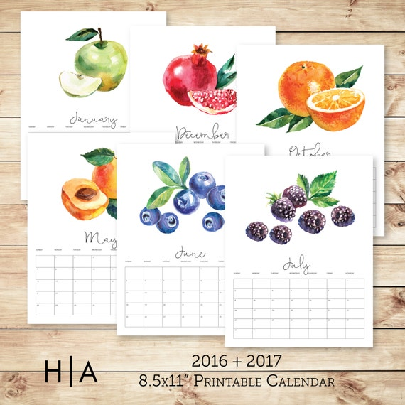 December 2016 January 2017 Kitchen Of The Month: 2017 2016 Printable Calendar 8.5x11 Desk Calendar Wall