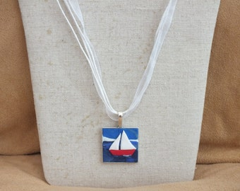 Sailing boat necklace, yacht necklace, nautical necklace