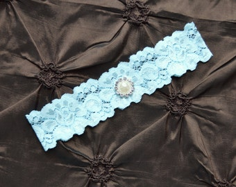 Wedding Garter, Blue Bridal Garter, Blue Lace Garter, Toss Garter, Single Garter, Something Blue Wedding Garter,  Blue Garter Belt