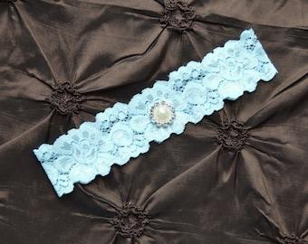 Wedding Garter, Blue Bridal Garter, Blue Lace Garter, Toss Garter, Single Garter, Something Blue Wedding Garter,  Blue Garter Belt