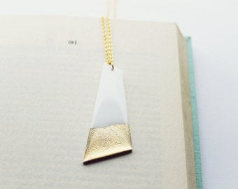 geometric necklace white and gold necklace statement necklace modern jewelry minimalist jewelry long pendant necklace stylish necklace
