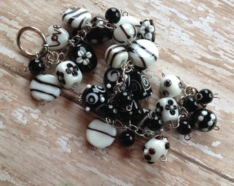 Black and White Glass Lampwork Bracelet, Lampwork Bracelet, Beaded Bracelet, Beadwork Bracelet, Gift For Her