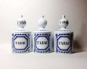 3 Tobacco Pots - French Faience Signed CAPRON Vallauris