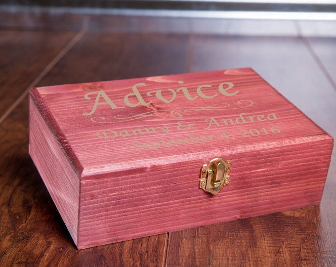 Rustic Advice Box, Wedding Guest Book Alternative, Bride Groom Wish Box, Memory Box, Treasure Chest,Wish Wood Hearts, Bridal Shower MB1