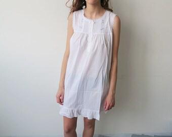 Gorgeous White Cotton Night Gown Dress!