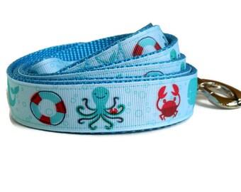Sea Creatures Light Blue Dog Leash - Octopus & Crabs