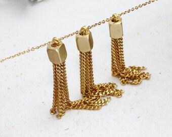50mm Chain Tassels , Raw Brass Tassel Pendant, Tassel Pendant, TSL81