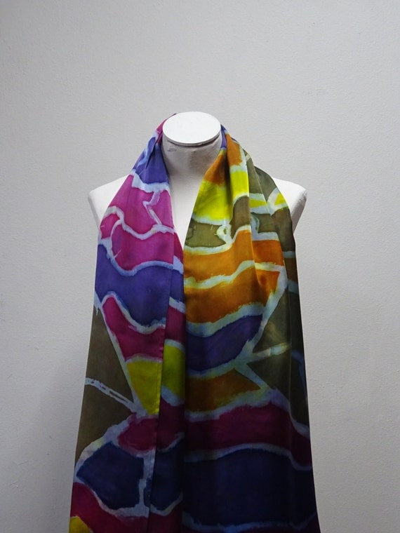 Hand Painted Silk Scarf, Silk Charmeuse, Scarf, Spring Scarf, Mother's Day Gift,  Medium Scarf